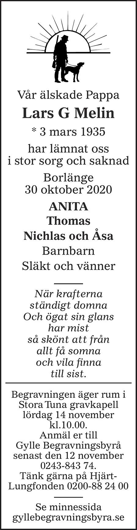 Lars G Melin Death notice