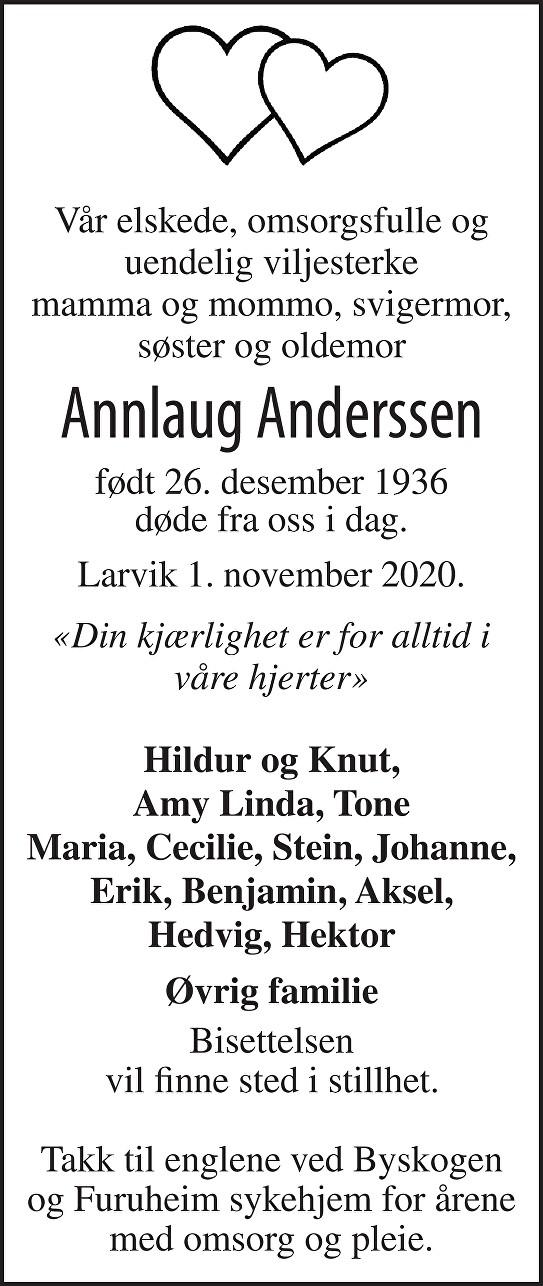 Annlaug Anderssen Dødsannonse