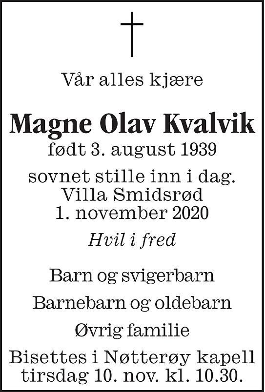 Magne Olav Kvalvik Dødsannonse