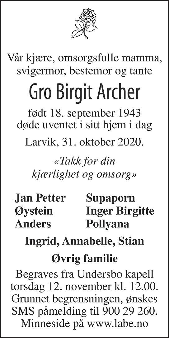 Gro Birgit Archer Dødsannonse