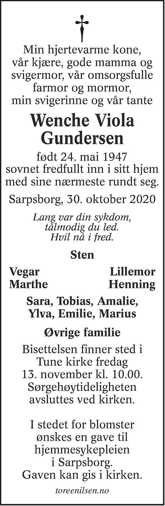 Wenche Viola Gundersen Dødsannonse