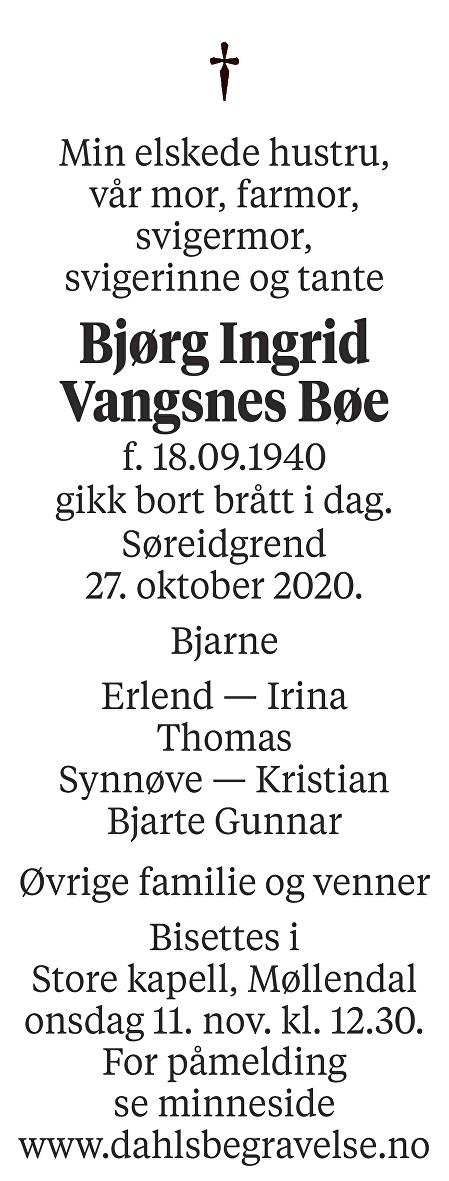Bjørg Ingrid Vangsnes Bøe Dødsannonse