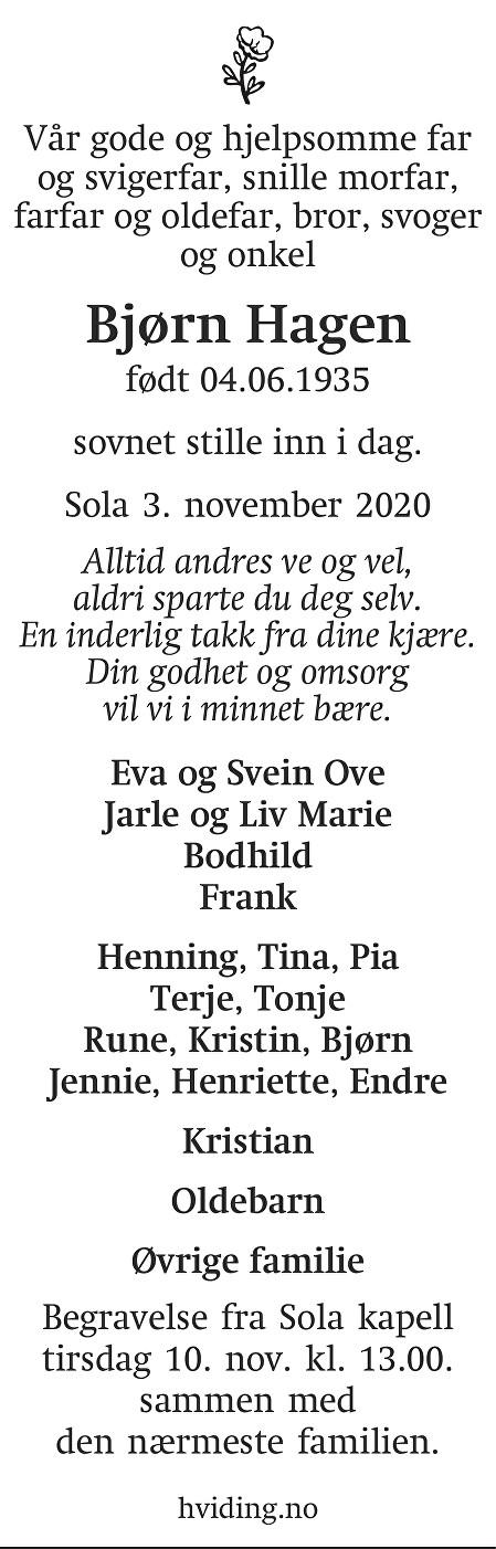 Bjørn Hagen Dødsannonse