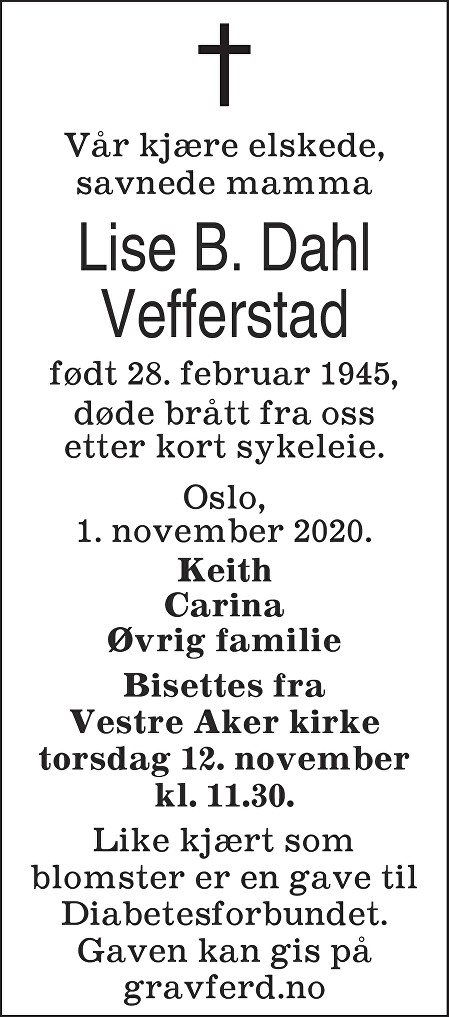 Lise Borghild Dahl Vefferstad Dødsannonse