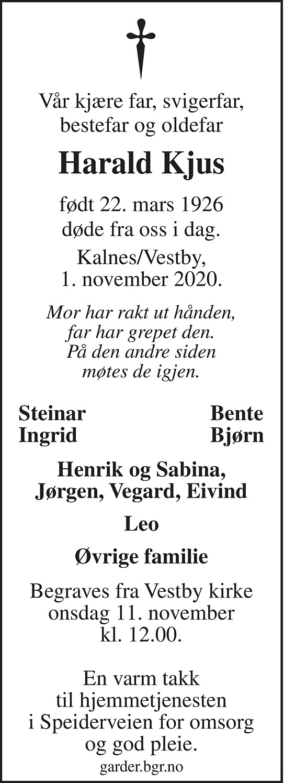 Harald Kjus Dødsannonse