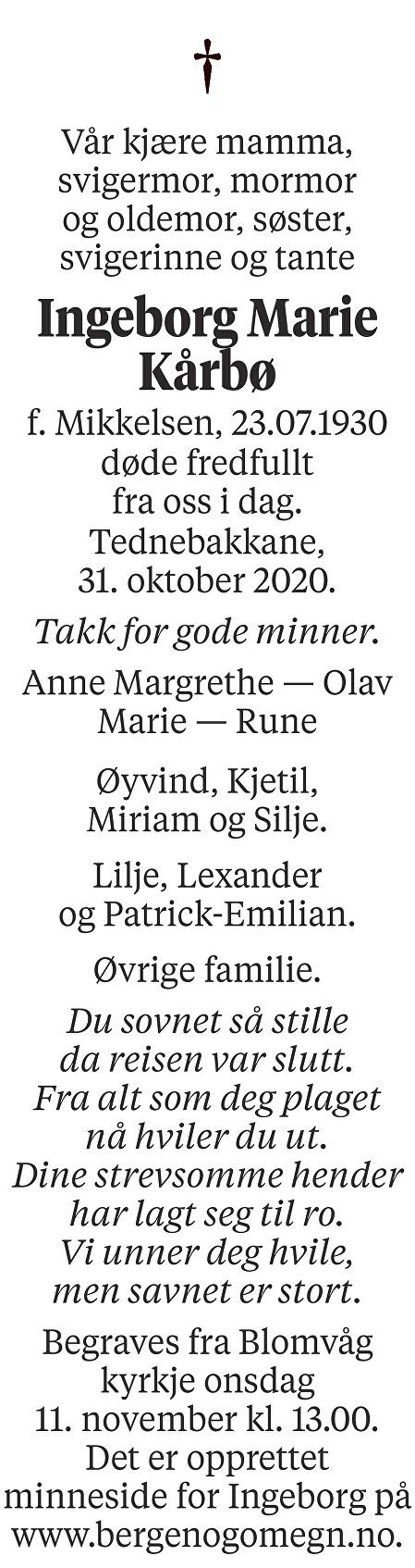 Ingeborg Marie Kårbø Dødsannonse