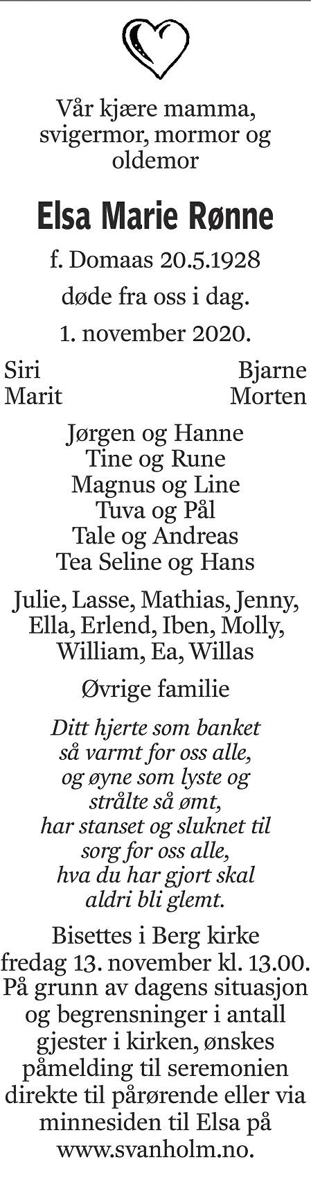 Elsa Marie Rønne Dødsannonse