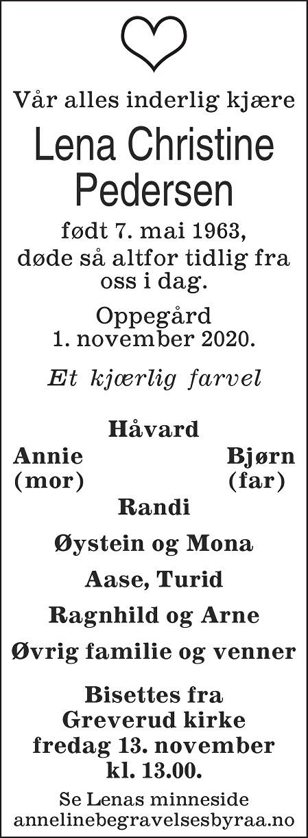 Lena Christine Pedersen Dødsannonse