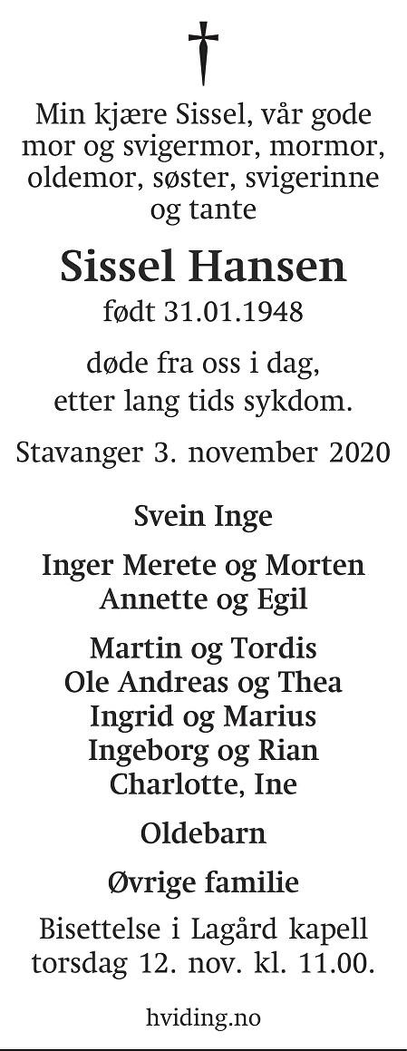 Sissel Jorunn Nygård Hansen Dødsannonse