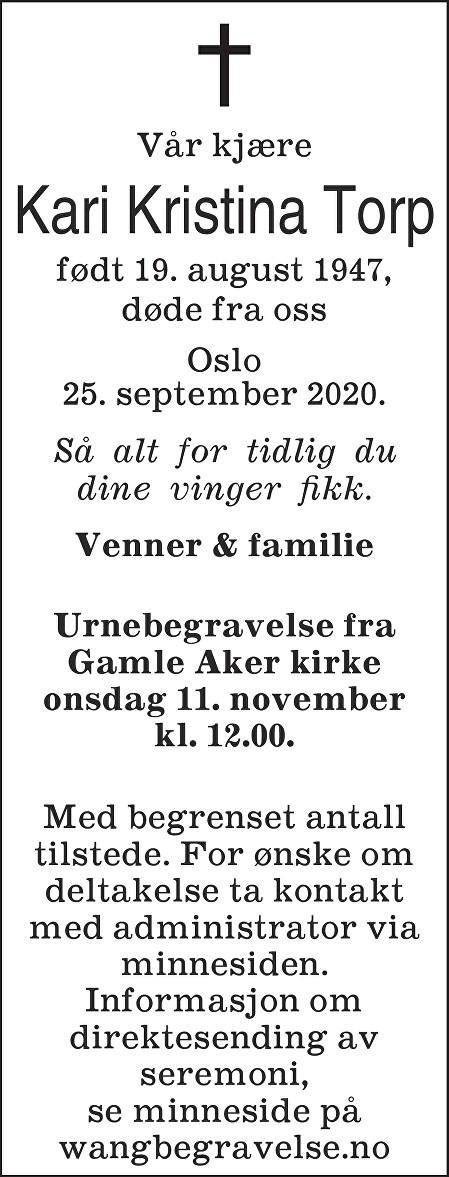 Kari Kristina Torp Dødsannonse