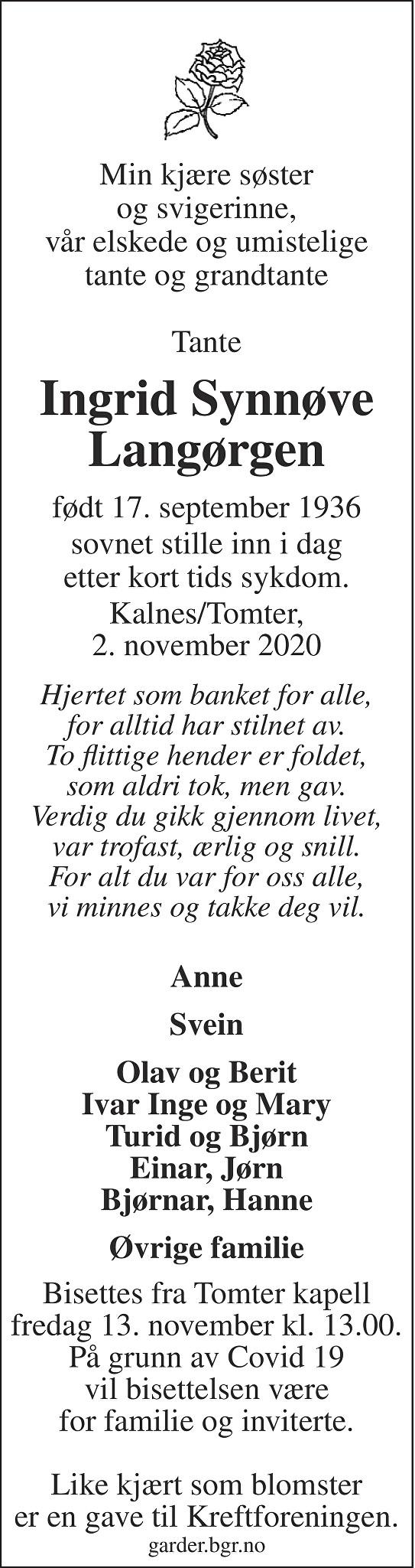 Ingrid Synnøve Langørgen Dødsannonse