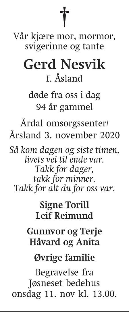 Gerd Nesvik Dødsannonse