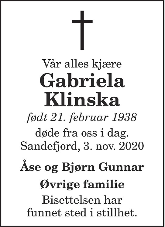 Gabriela Klinska Dødsannonse
