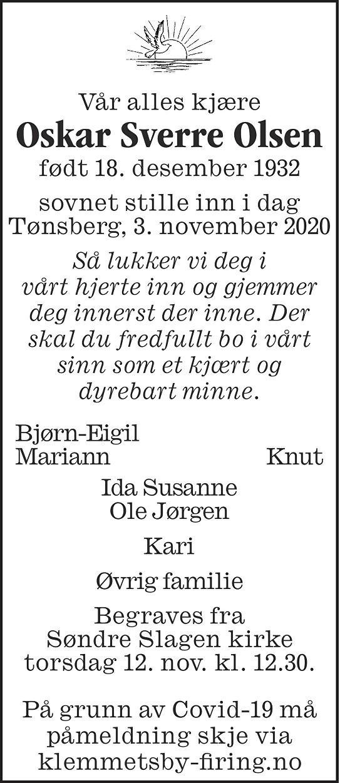 Oskar Sverre Olsen Dødsannonse