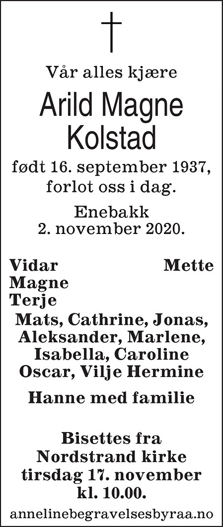 Arild Magne Kolstad Dødsannonse