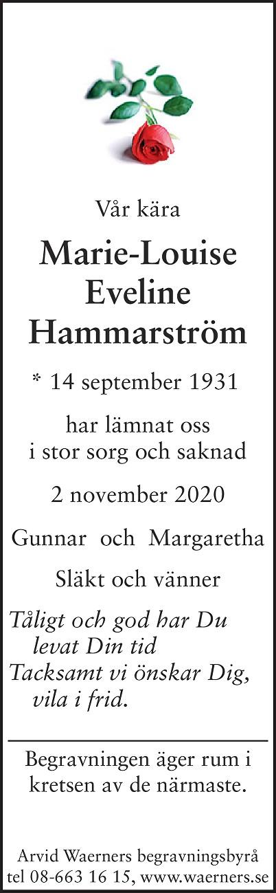 Marie-Louise Eveline Hammarström Death notice