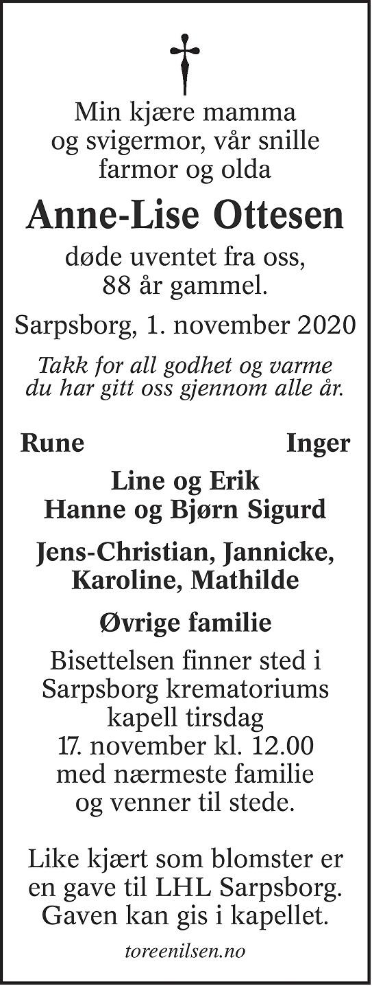 Anne-Lise Ottesen Dødsannonse