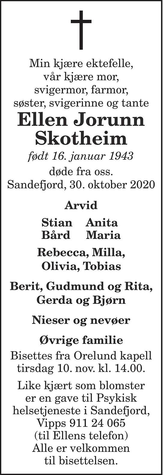 Ellen Jorunn Skotheim Dødsannonse