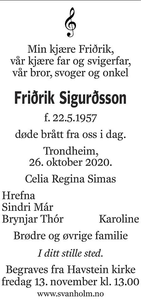 Friðrik Sigurðsson Dødsannonse