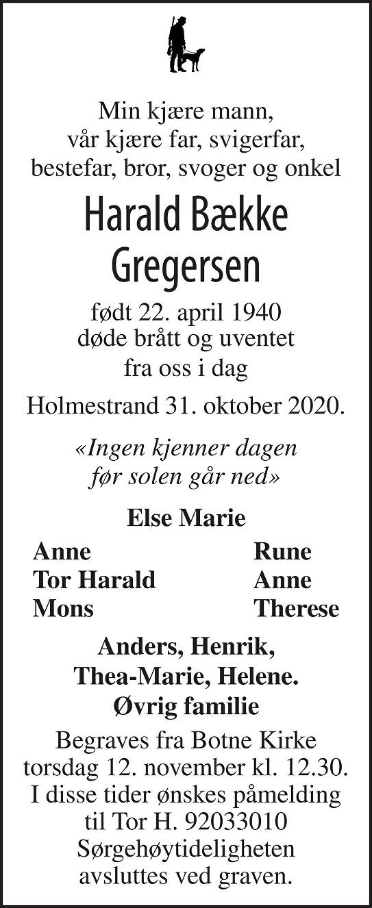 Harald Bække Gregersen Dødsannonse