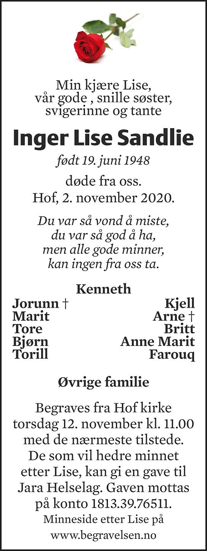 Inger Lise Sandlie Dødsannonse