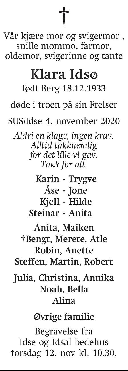 Klara  Idsø Dødsannonse