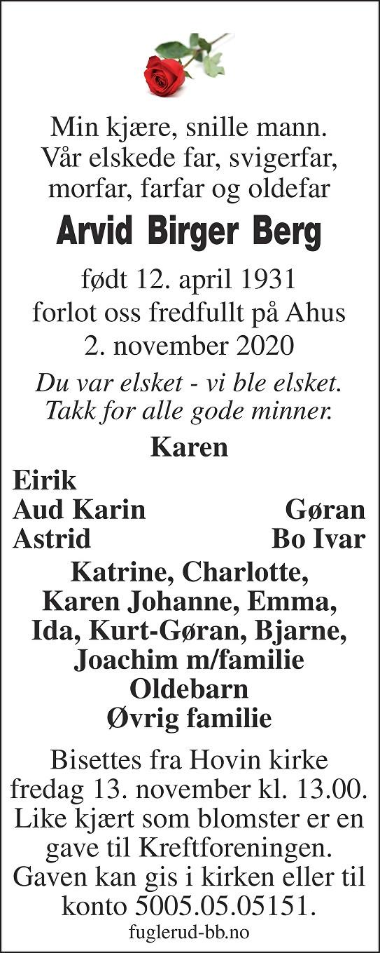 Arvid Birger Berg Dødsannonse
