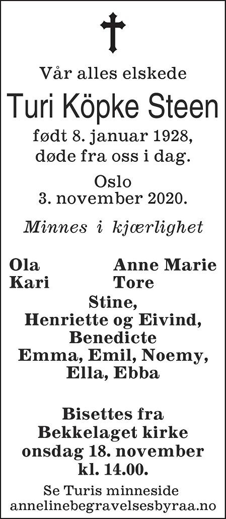 Turi Köpke Steen Dødsannonse