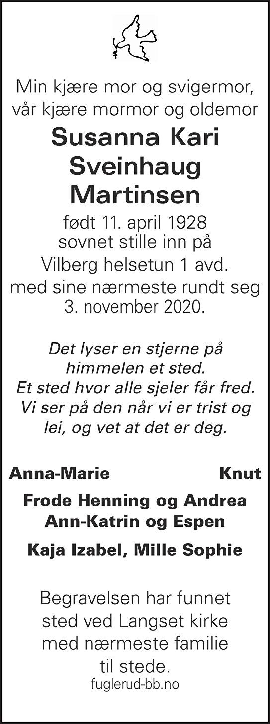 Susanna Kari Sveinhaug Martinsen Dødsannonse
