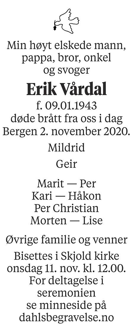 Erik Vårdal Dødsannonse