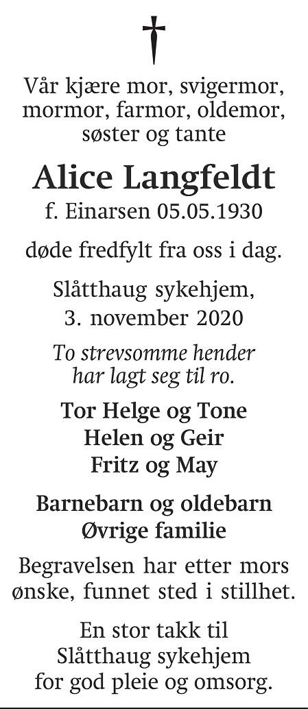 Alice  Langfeldt Dødsannonse