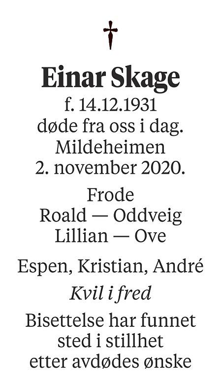 Einar Skage Dødsannonse