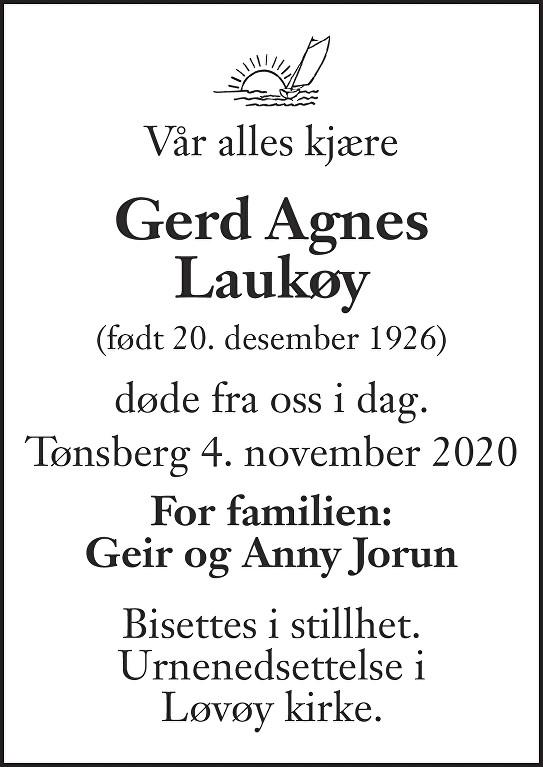 Gerd Agnes Laukøy Dødsannonse