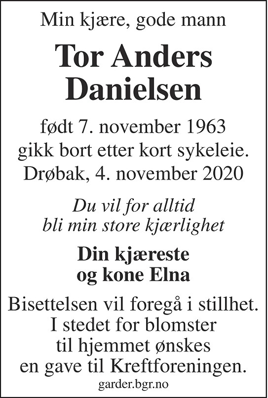 Tor Anders Danielsen Dødsannonse