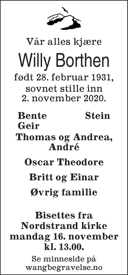 Willy Steinar Borthen Dødsannonse
