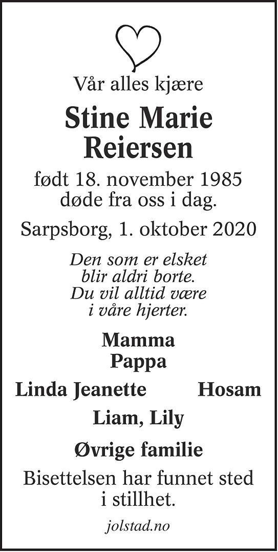 Stine Marie Reiersen Dødsannonse
