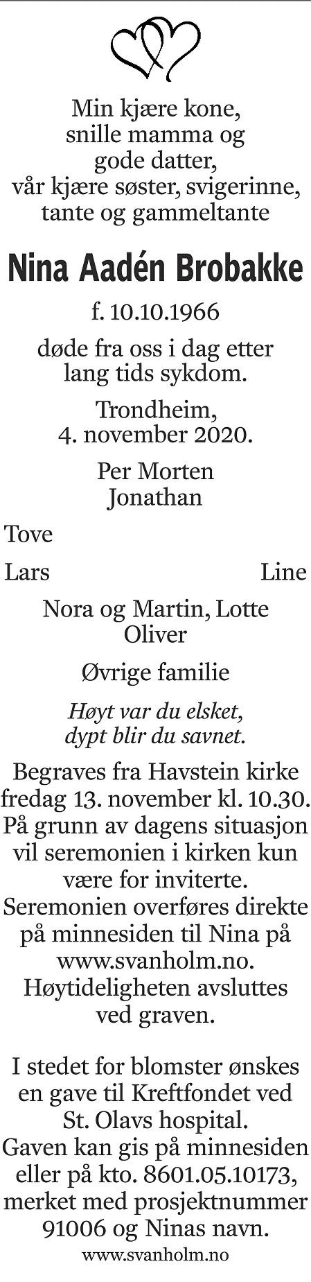 Nina Aadén Brobakke Dødsannonse
