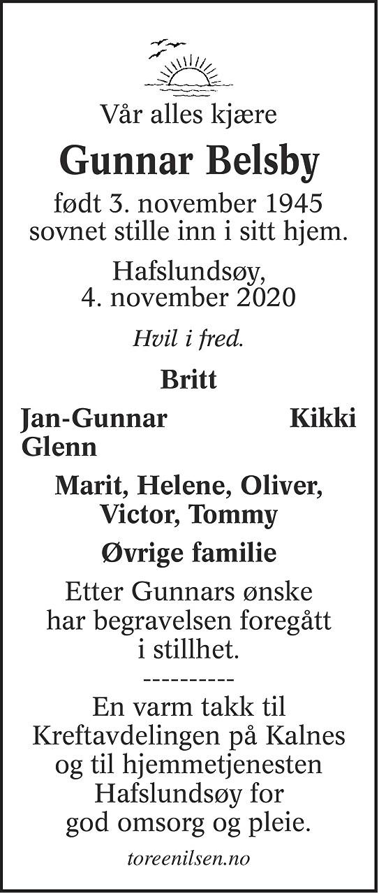 Gunnar Belsby Dødsannonse