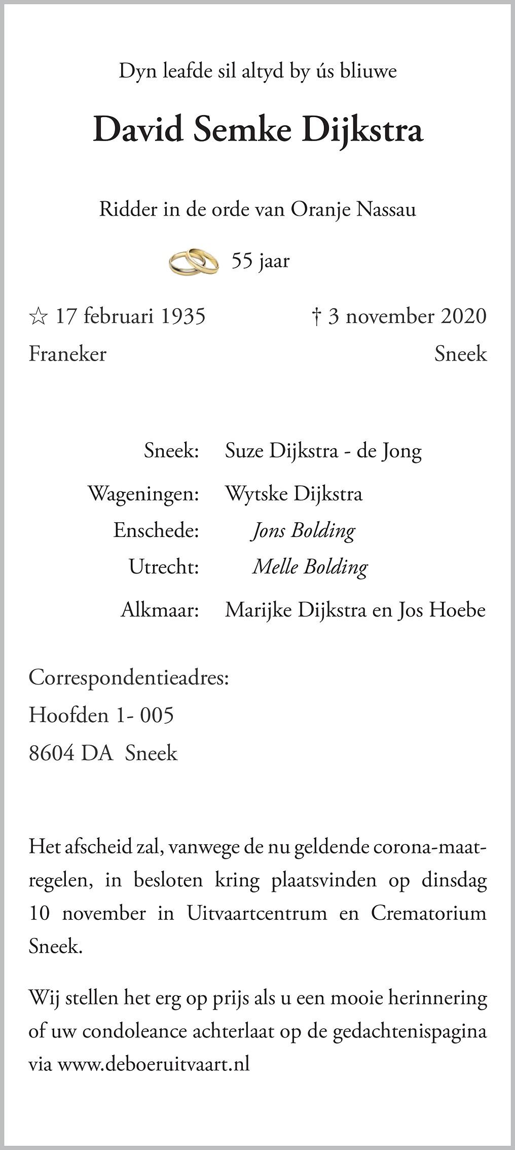 David Semke Dijkstra Death notice