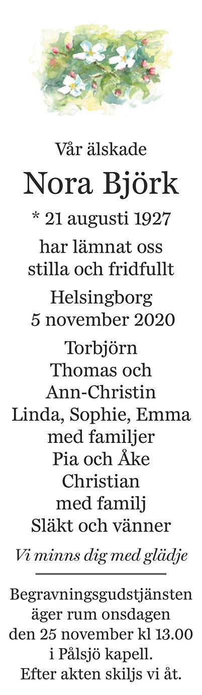 Nora Björk Death notice