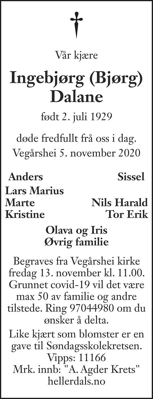 Ingebjørg (Bjørg) Dalane Dødsannonse