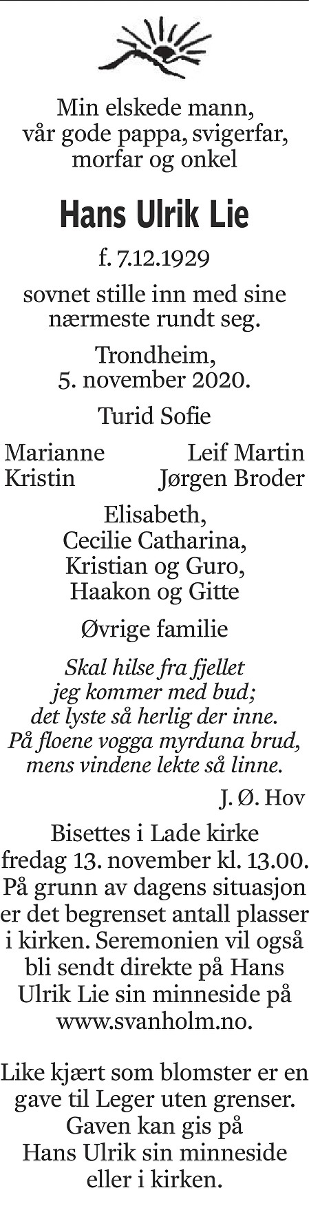 Hans Ulrik Lie Dødsannonse
