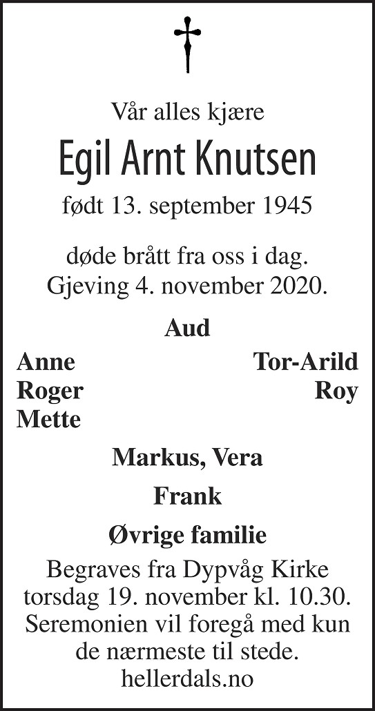 Egil Arnt Knutsen Dødsannonse