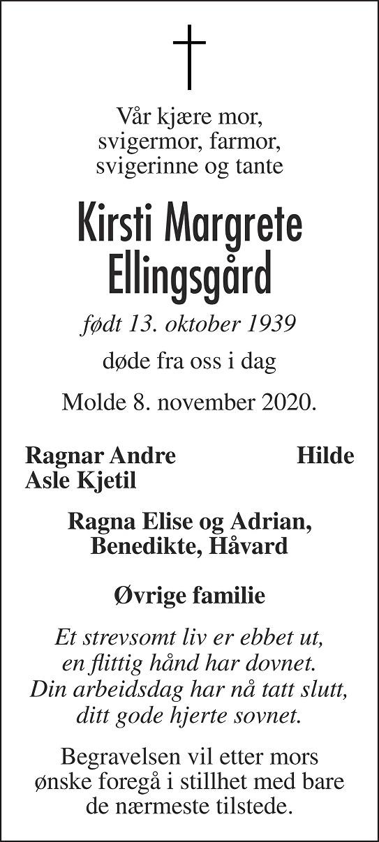 Kirsti Margrete Ellingsgård Dødsannonse