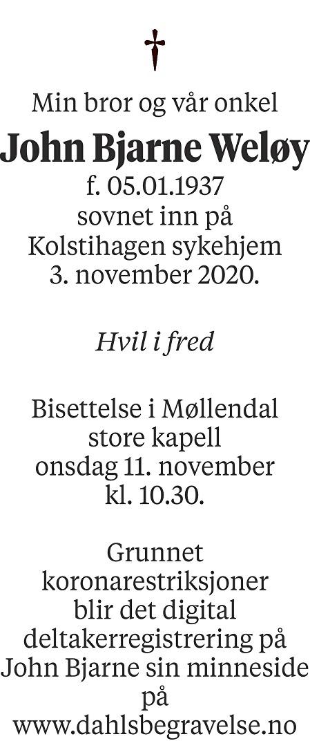 John Bjarne Weløy Dødsannonse