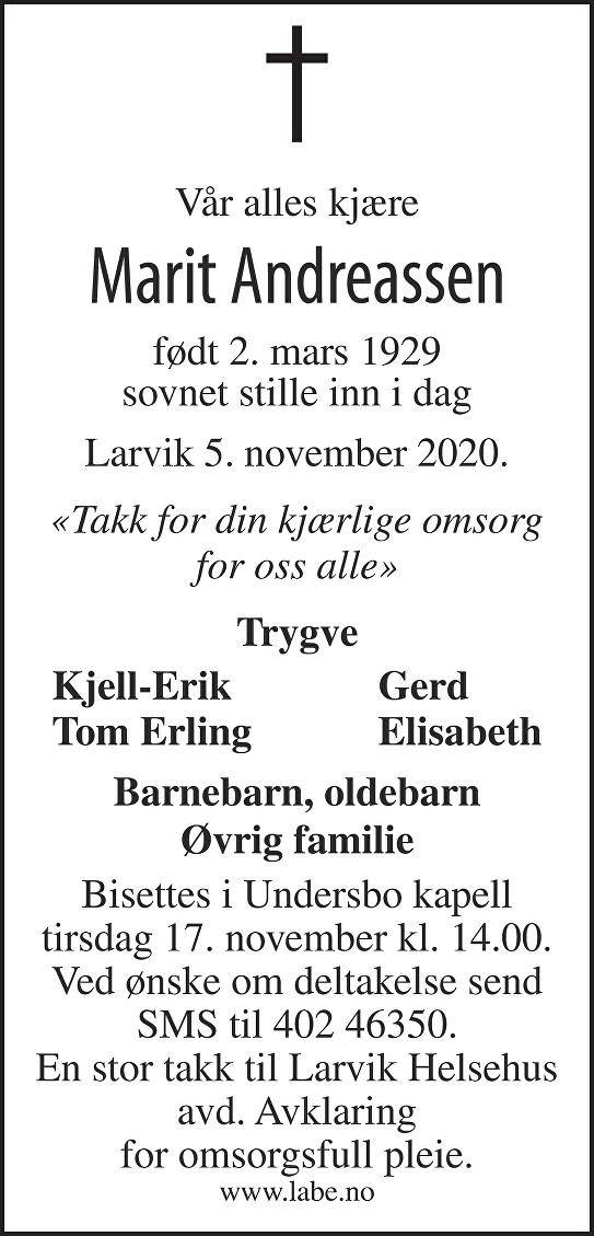 Marit Andreassen Dødsannonse