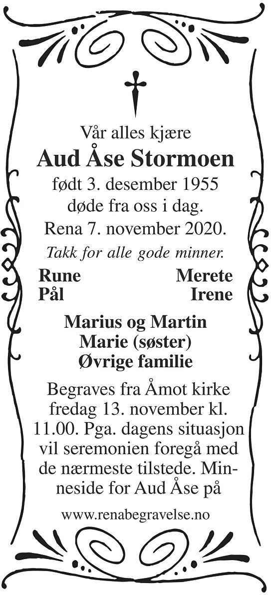 Aud Åse Stormoen Dødsannonse