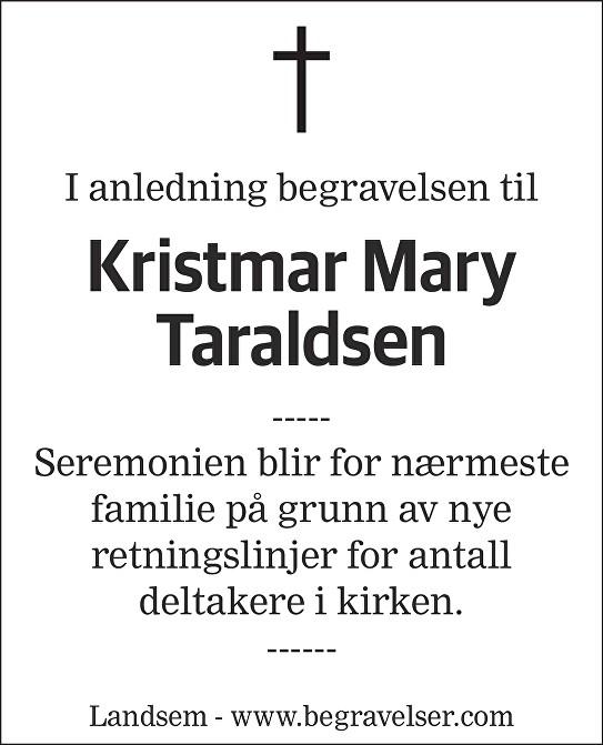 Kristmar Mary Taraldsen Dødsannonse