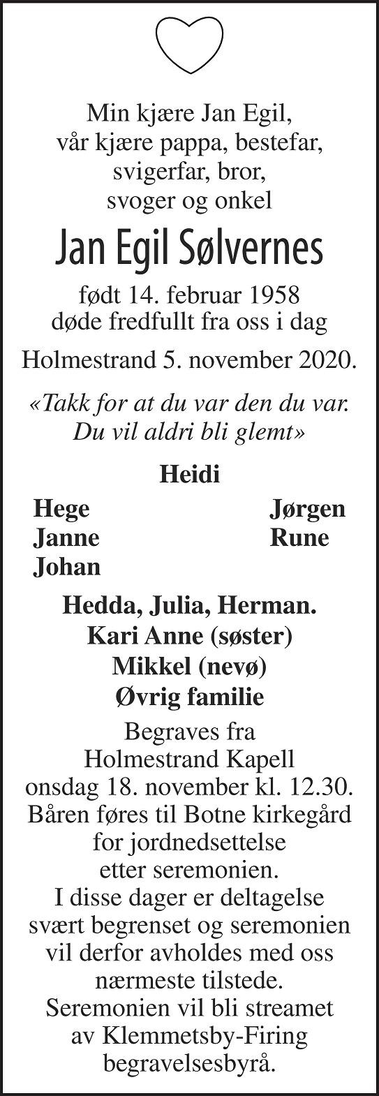 Jan Egil Sølvernes Dødsannonse