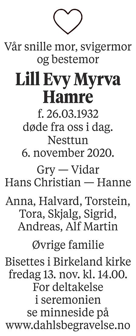 Lill Evy Myrva Hamre Dødsannonse
